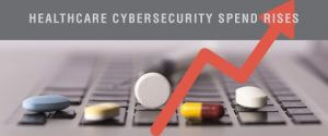 "Image with text saying ""healthcare cybersecurity spend rises"""